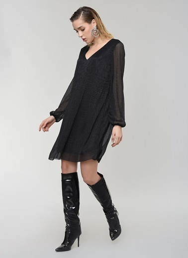 People By Fabrika V Yaka Parlak Elbise Siyah